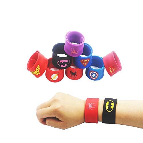 Southstar Bracelet Bands for Kids, 10pcs Superheroes Slap Bands Party Bag Fillers Slap Bracelets Set for Kids Boys & Girls Birthday Party Favors