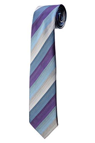 Cravate à rayures violettes, bleues et beiges DESIGN costume homme mariage