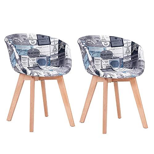 2 x Esszimmerstuhlbezug, 2 Sätze Armlehnen-Esszimmerstuhl, Designstuhl mit Leinensitz, Küchenstuhl, Holz, Patchwork, Farbe