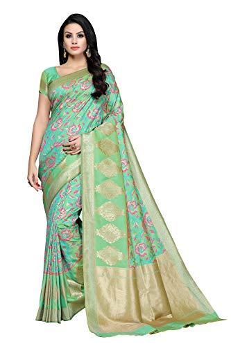 Soru Fashion Women's Banarasi Cotton Art Silk Saree with B