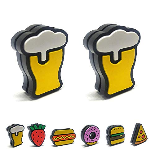 Tennis Feel Healthy Pack • Fast Food Dämpfer • Vibrationsdämpfer für Tennisschläger • Hamburger - Donuts • 2er Pack (Bier)