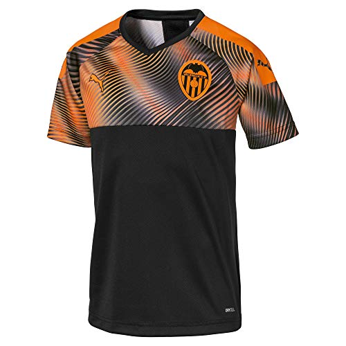 Puma Valencia CF Temporada 2020/21-Away Shirt Replica Jr Camiseta Segunda Equipación, Unisex, Black-Vibrant Orange, 164