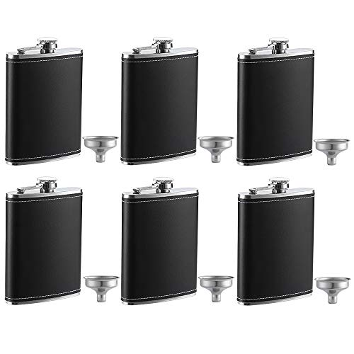 YWQ 6 Pack Flask for Liquor and Funnel, Premium 8 Oz Leak Proof 18/8 Stainless Steel Pocket Hip Flask with Black Leather Cover, Great Gift Idea Flask