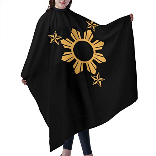 3 Stars And Sun Filipino Philippines Flag Barber Cape Cover Cloak Professional Waterproof Hair Styling Cape Haircuting Salon Cape Gown Hair Salon With Snap Closure 140x168cm