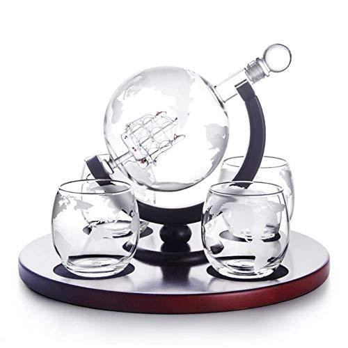 CYHT Whiskey Globe Decanter Set, con Mapa del Mundo Grabado Whiskey Glasses Glass Glass Glass Botella de Whisky con Sello hermético Decanter 1000 ml Regalo
