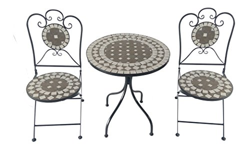 Unbekannt Solalite Kit mosaïque Fer 2 chaises et 1 Table Diamètre env. 61 cm