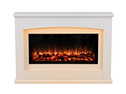 Endeavour Fires Danby Electric Fireplace Suite Glass fronted electric fire 220/240Vac, 1&2kW 7 day Programmable remote control in an Off White MDF fireplace suite.
