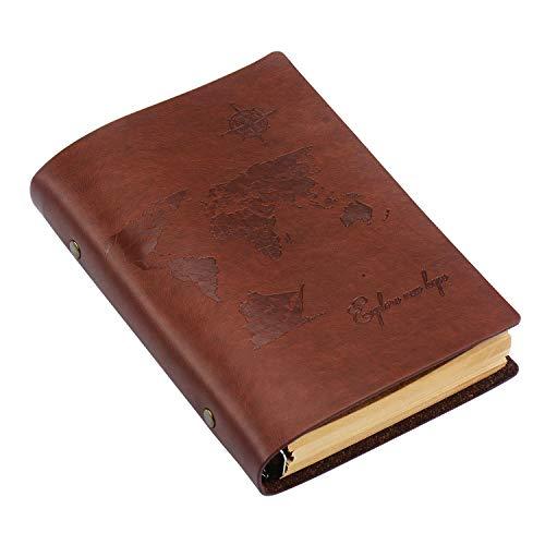 """SEEALLDE Leder Notizbuch A6 Leere Seiten Journal Notebook\""""Weltkarte\"""" Vintage Travel Tagebuch Notiz Skizzenbuch"""