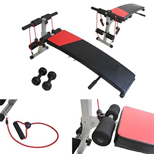 FFitness FLMD312N - Banco ajustable para abdominales, abdominales, pectorales, glúteos, pantorrillas, dorsales, casa, fitness, gimnasio, multifunción, pesas, color negro