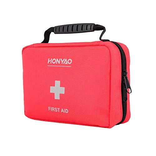 HONYAO Kit di Pronto Soccorso, Borsa di Emergenza Medico - Kit Cassetta Pronto Soccorso per Casa Aziende Auto Barca Moto e Viaggio Trekking Camping Escursionismo Montagna