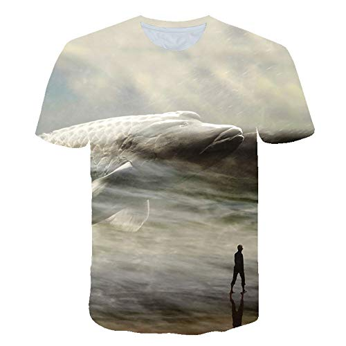XIAOBAOZITXU T-Shirt Unisex Paar Kostuum 3D Digitale Print Big Fish Shadow Cool Grappig Losse Sport Mode Grote Maat T-Shirt