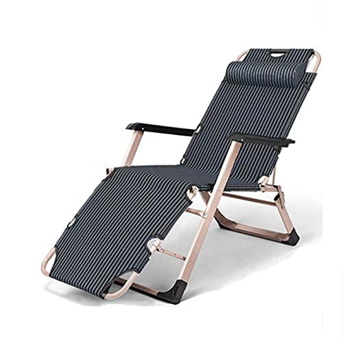 YVX Sillón reclinable Plegable Ajustable, sillas de Patio Sillón reclinable Plegable Tumbonas para el Sol de Patio al Aire Libre Carga de hasta 200 kg con Almohada para la Cabeza