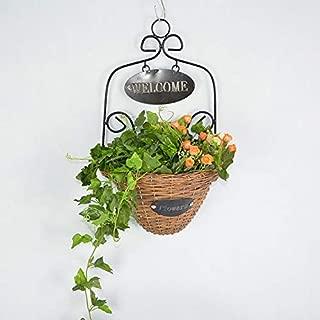 Dingxin Decorative Weaving Willow Storage Basket Wall Hanging Rattan Basket Idyllic Retro Style Plant Vase Home/Cafe / Restaurant Decoration