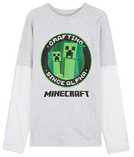 Minecraft Camiseta Niño, Camisetas Manga Larga Diseño Creeper y Mob, Ropa para...