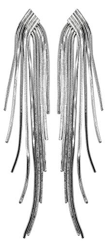 Hilier 925 Sterling Silver Long Chain Tassels Stud Earring for Girls and Women