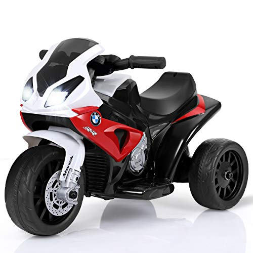 Costzon Kids Ride on Motorcycle, 6V Battery Powered 3 Wheels Motorcycle Toy for Children Boys & Girls, Electric Ride on Motorcycle w/Headlights &Music, Pedal (Dark Red)