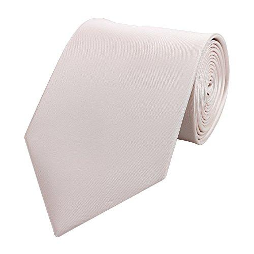 Fabio Farini - einfarbige und elegante Krawatte in verschiedenen Farben und Breiten zur Auswahl Weißrosa 8cm