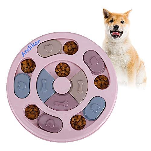 Andiker Rundes Hundespielzeug, Puzzle-Spielzeug, langlebig, interaktives Hundespielzeug, Hunde-Gehirnspiele, Verbesserung des IQ(Rosa)