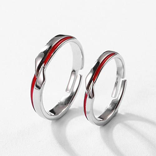 XINYIU Pärchen-Ringe aus 925er Sterlingsilber mit roter Linie, originelles Design, elegant, romantisch, personalisierbar, für Damen, Festival, Liebhaber, Hochzeitsschmuck