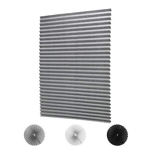 "LUCKUP 2 Pack Cordless Light Filtering Pleated Fabric Shade,Easy to Cut and Install, with 4 Clips (36""x72""- 2 Pack, Grey)"
