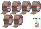 Tesa 6 Rollen Paketband 64014 Braun - leise abrollend - 50mm X 66m + Gratis Tesafilm [15mm X 10m]