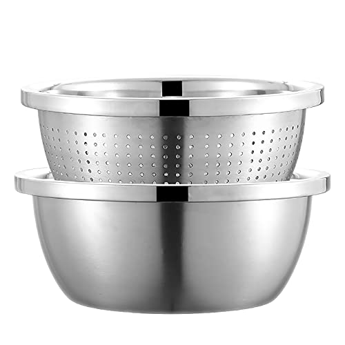PIVTXRQS Stainless Steel Strainer, Mixing Bowl Set Salades Kitchen Sieve Noodle Sie Bowl Set Stackable Saladschücke,Silver,20cm
