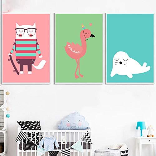 IGZAKER Cartoon Seals Struisvogel Vos Dieren Muur Canvas Schilderij Posters En Prints Nordic Poster Muur Foto Kinderkamer Home Decor-40x60cmx3pcs geen frame