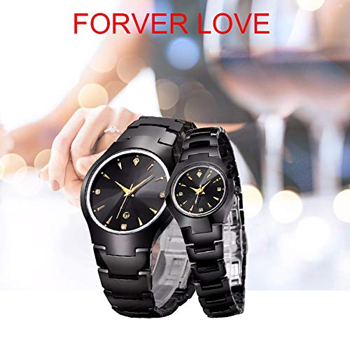Pareja Conjunto De Relojes De Las Mujeres De Los Hombres Tungsteno Banda De Acero Amante De Reloj Impermeable del Cuarzo De Zafiro Espejo Vidrio De Reloj, Negro