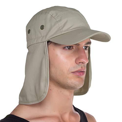 Top Level Fishing Sun Cap - Ear Neck Flap Hat, Sand