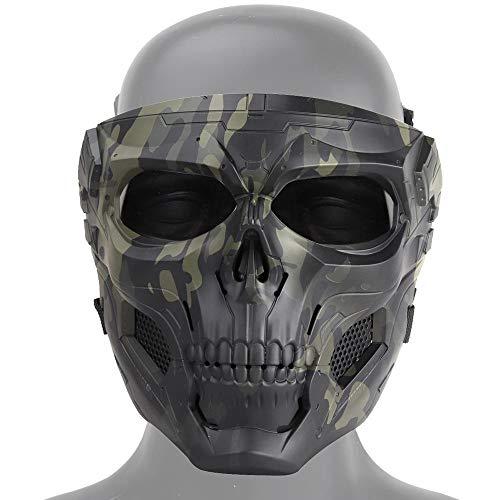 zowam Máscara de calavera de airsoft, máscara de calavera táctica resistente a impactos y transpirable con lente de PC, para Halloween, juegos de rol y fiestas de disfraces