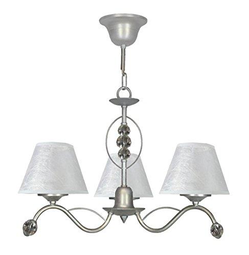 I.F. Fase 3544/3/S/PD lamp, metaal, verzilverd, met 3 lampenkappen en versieringen van Asfour 30% lood, 44 x 50