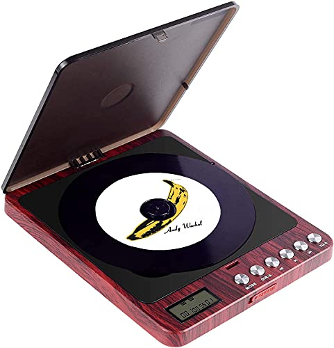 CCHKFEI Draagbare cd-speler, 2400 mAh, persoonlijke oplaadbaar, MP3-cd-speler, ingebouwde luidspreker met dubbele 3,5 mm hoofdtelefoonaansluiting, disc walkman met stootvast voor thuis, auto en reizen
