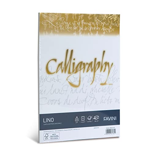 Favini Calligraphy Lino 50 cartoncini da 200 gr/m2 formato A4 ideali per Inviti Partecipazioni Diplomi Menù, Bianco, 21 x 29.7 cm