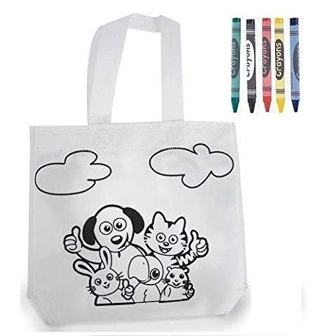 Lote 30 Bolsas para Colorear Ideal para Regalos de cumpleaños, comuniones, colegios, guarderías y Celebraciones. Bolsas Merienda y Almuerzos (Diseño Animalitos)