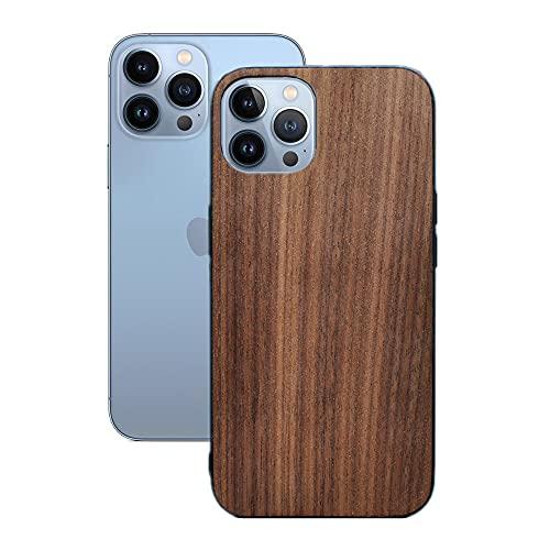 MQman クルミ iPhone13Pro 用 ケース 軽い 薄い 木製カバー 原木 ストラップホール 天然木 耐衝撃ラバー ソフト (iPhone13Pro用)