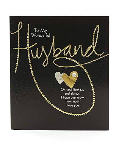 Husband Birthday Card - Birthday Card for Him - Contemporary Gold Lettering Design