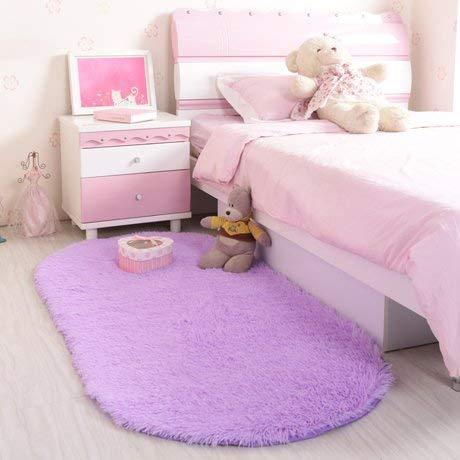 HYY-YY gebied tapijten eenvoudige Scandinavische stijl ovale effen kleur pluche wit tapijt woonkamer salontafel slaapkamer bed tapijt [lang fluweel] 80X200Cm paars