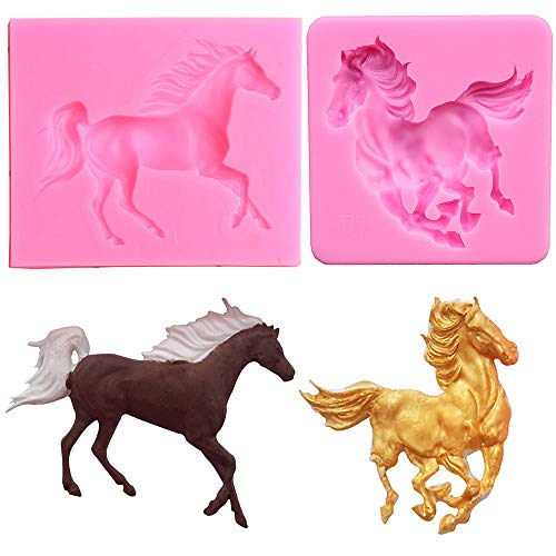 2 x kleine Pferde-Fondantform aus Silikon, Pferdeform, Schokolade, Zuckerguss, Zuckerguss, Kuchendekoration, Werkzeug aus Polymer, Ton, Harz, Epoxidharz, 2 Stück