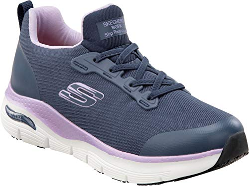 Skechers Arch Fit Work Leslie, Women's, Navy, Alloy Toe, Slip Resistant Low Athletic Slip On Work Shoe (7.0 M)