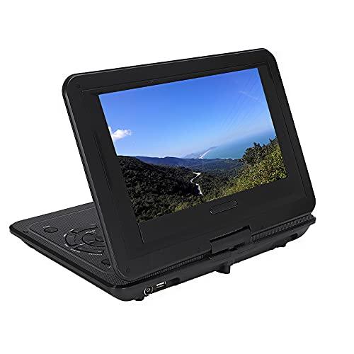 Reproductor de DVD portátil, DVD y vídeo multifunción de 10,1 pulgadas, pantalla de vídeo y señal de adaptador giratorio, cable de televisión, lector con salida AV y de juego