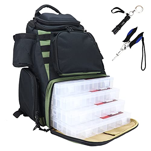 OSAGE RIVER Ultimate Fishing Backpack, Night Fishing Light, Waterproof Rain Cover, Large Bag with Tackle Boxes Included
