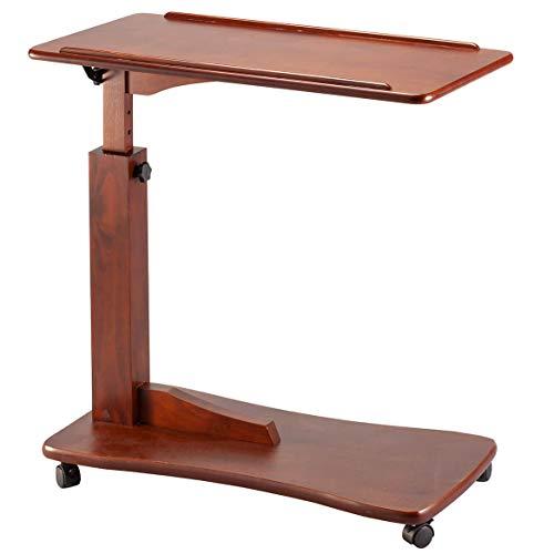 OakRidge Height Adjustable Bedside Tray Table with Wheels, Walnut