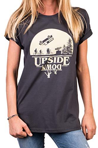 MAKAYA Stranger Things Shirt Damen - Upside Down Oversize Top - große Größen grau M