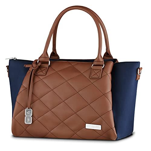 ABC Design Wickeltasche Royal Diamond Edition – Handtasche mit Baby Zubehör – auch zum Umhängen – Melange Stoff & Lederimitat – Farbe: navy