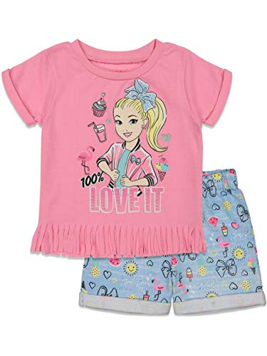 JoJo Siwa Little Girls Fashion Fringe T-Shirt and French Terry Shorts Set Pink 5
