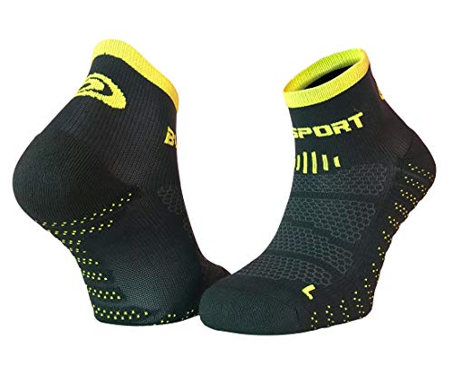 BV Sport Socquettes SCR One Evo Noires ET Jaunes Chaussettes Running