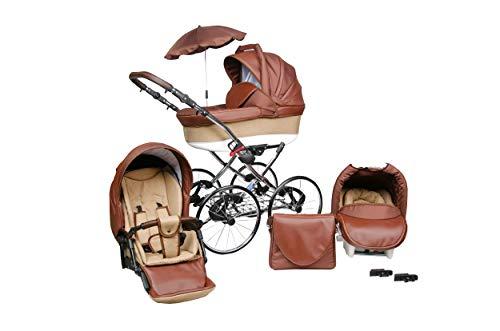 SKYLINE Klassisch Retro Stil LUX Kombi-Kinderwagen Buggy 3in1 Reise System Autositz (Isofix) (Braun/17