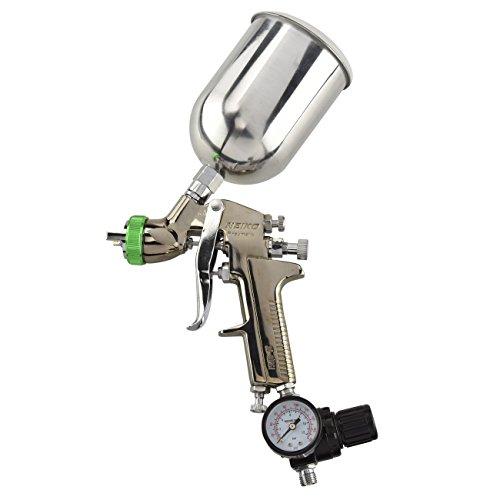 NEIKO 31214A HVLP Gravity Feed Air Spray Paint Gun   1.5 mm Nozzle Size   600 cc   Air Gauge Regulator