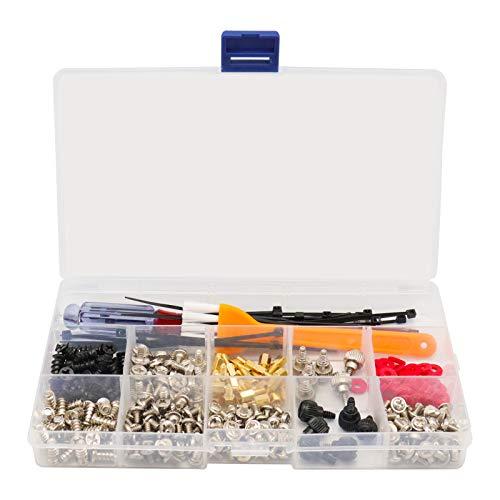 330 piezas Kit de juego de separadores de tornillos para computadora pc Para disco duro de placa base Caja de la computadora Potencia del ventilador Con mini destornillador Y un cepillo de limpieza