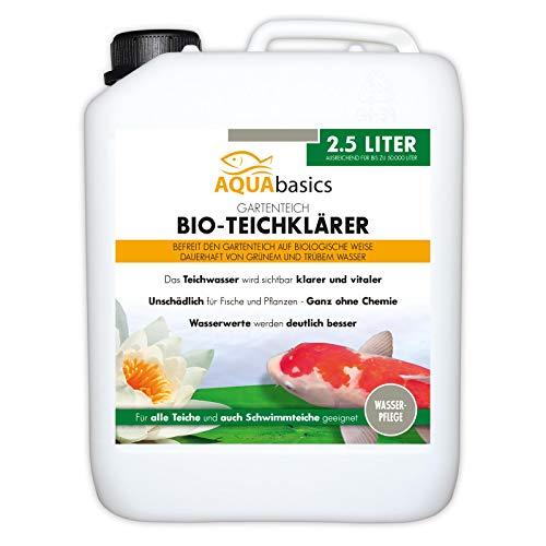 AQUAbasics Gartenteich Bio-Teichklärer für kristallklares Wasser ohne Chemie - Befreit den Teich von grünem und trüben Teichwasser - Natürlicher Teich-Klärer, Größe:2.5 Liter